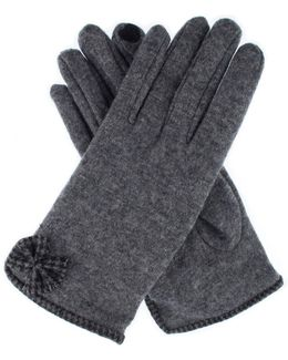 Womens Dogtooth Trim Gloves