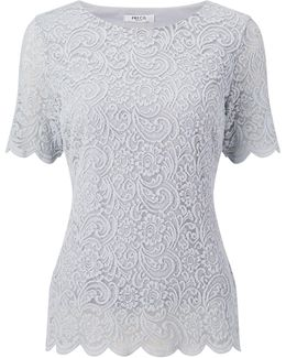 Petite Scallop Lace Jersey Top