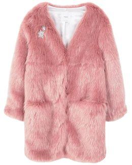 Brooch Faux Fur Coat