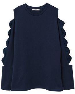 Ribbons Cold-shoulder Sweatshirt