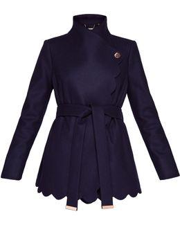Scallop Detail Wool Wrap Coat