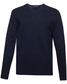 Men's Milano Front Cotton V Neck Jumper
