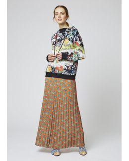 Pleated Ditsy Floor Length Skirt