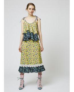 Floral-print Cady Midi Skirt