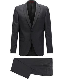 Regular-fit Suit In Patterned Virgin Wool