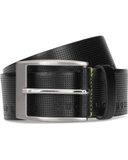 Leather Belt With Embossed Logo Detail