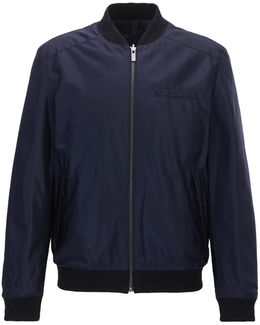 Slim-fit Reversible Bomber Jacket With Teflon Finish