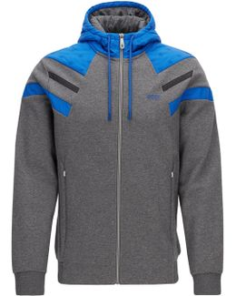 Zip-through Hoody In Double-faced Cotton-blend