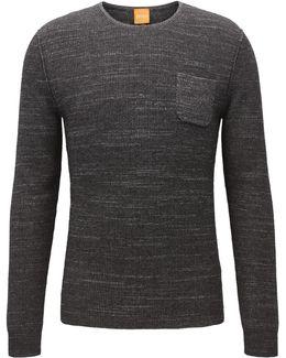 Crew-neck Sweater In Two-tone Fabric