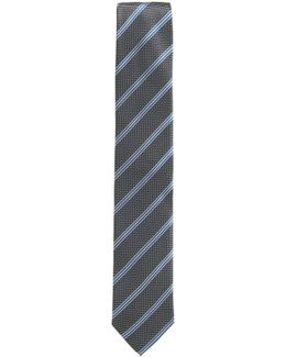 Striped Tie With Micro Pattern In Silk Jacquard