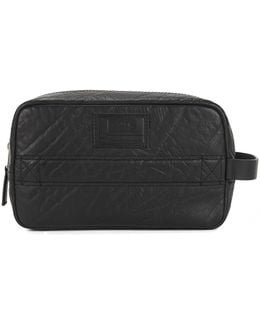 Zip-top Wash Bag In Grained Leather