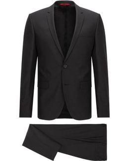 Extra-slim-fit Suit In 3d Patterned Virgin Wool
