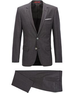 Slim-fit Suit In Basket-weave Virgin Wool