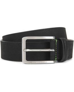 Pin-buckle Belt In Nubuck Leather