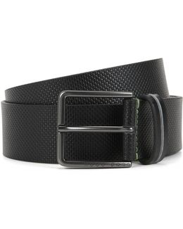 Pin-buckle Belt In Textured Leather