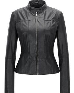 Regular-fit Biker Jacket In Soft Leather