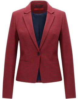 Slim-fit Jacket In Micro-pattern Fabric