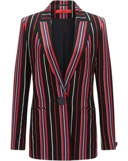 Regular-fit Jacket In A Striped Cotton Blend