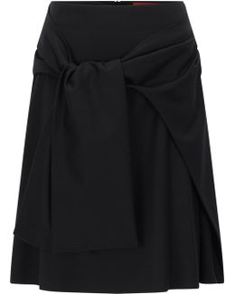A-line Flannel Skirt With Draped Belt Detail