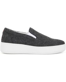 Slip-on Shoes In Wintry Wool