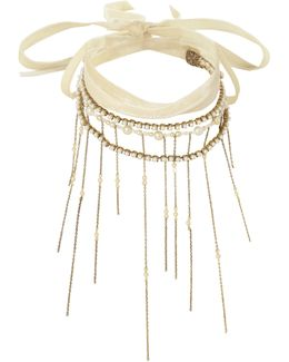 Wrap Tie Pearl Fringe Necklace