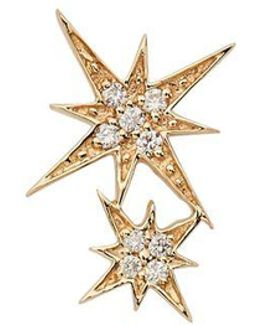 Double Starburst Diamond Stud Single Earring
