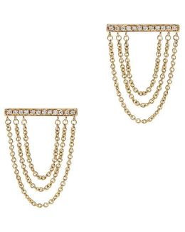 Tripe Chain Diamond Bar Stud Earrings