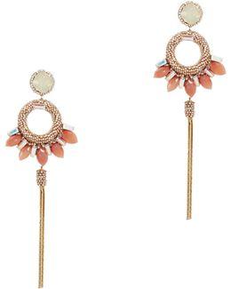 Peach Stone Tassel Earrings