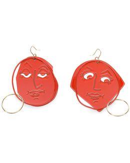Scarlet Gold Moon Face Earring