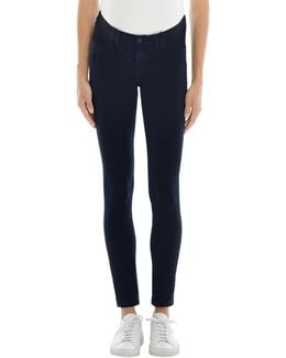 Mama J Luxe Sateen Mid-rise Super Skinny In Dark Navy