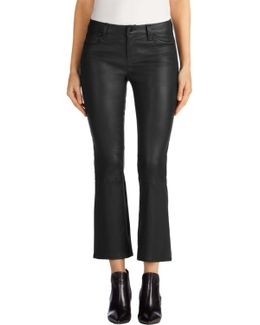 Selena Leather Mid-rise Crop Boot Cut In Black