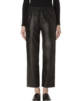 Amari Leather High-rise Pant In Black