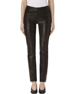 Maude Leather Mid-rise Cigarette In Black