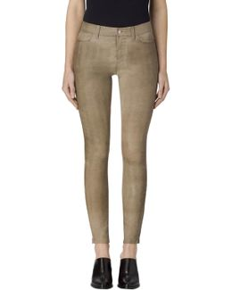 L8001 Mid Rise Leather Super Skinny In Leaden