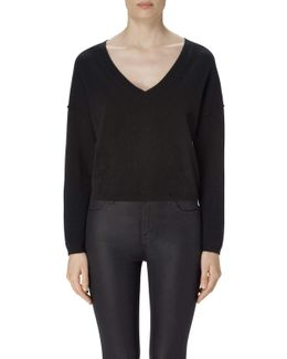 Josey Cropped Cashmere Sweater In Black