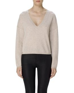 Josey Cropped Cashmere Sweater In Grainy