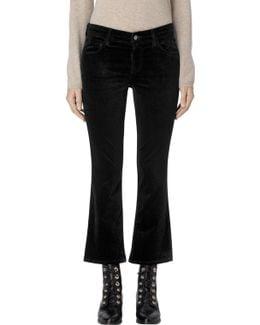 Selena Mid-rise Cropped Boot In Black Velvet