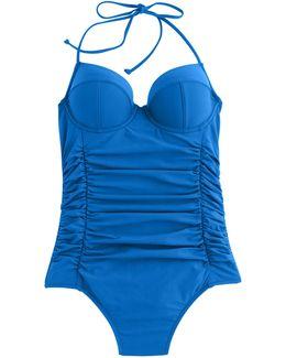 D-cup Halter Underwire One-piece Swimsuit
