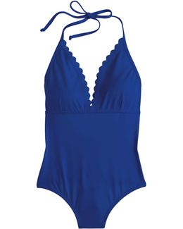 Long Torso Scalloped V-neck One-piece Swimsuit In Italian Matte