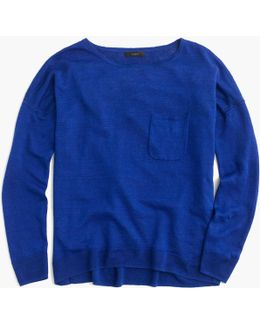 Yarn-dyed Linen Pocket Crewneck Sweater