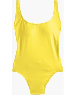 Plunging Scoopback One-piece Swimsuit In Italian Matte