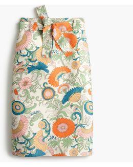 Petite Tie-waist Skirt In Ornate Floral