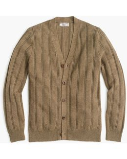 Cotton-linen V-neck Cardigan Sweater