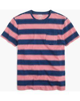 Wallace & Barnes T-shirt In Indigo Stripe