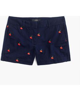"4"" Chino Short With Embroidered Cherries"