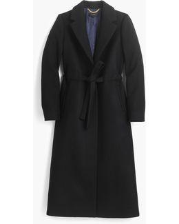 Petite Tie-waist Topcoat In Double-serge Wool