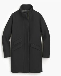 Tall Italian Stadium-cloth Wool Cocoon Coat