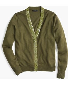 Harlow Cardigan Sweater With Sequin Placket