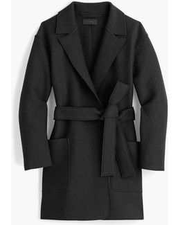 Petite Wrap Coat In Boiled Wool