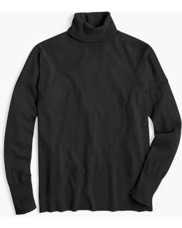 Merino Turtleneck Sweater With Side Slits